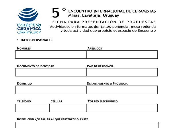 Convocatoria a presentar propuestas de trabajo para el 5º Encuentro de Ceramistas en Minas, Lavalleja, Uruguay.